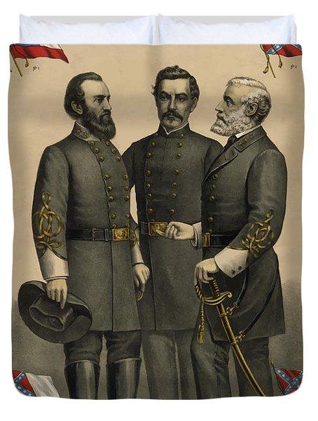 Generals Jackson Beauregard And Lee Duvet Cover