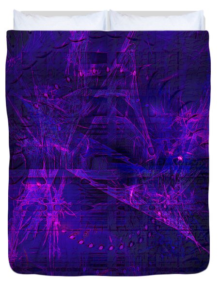 Duvet Cover featuring the digital art Purple And Blue Fractals by Fine Art By Andrew David