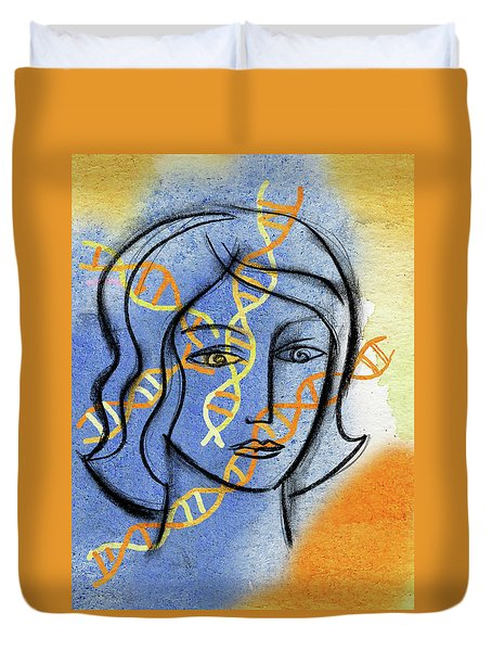Duvet Cover featuring the painting Genetics by Leon Zernitsky