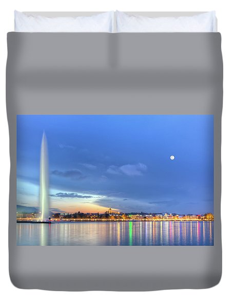 Geneva Lake With Famous Fountain, Switzerland, Hdr Duvet Cover