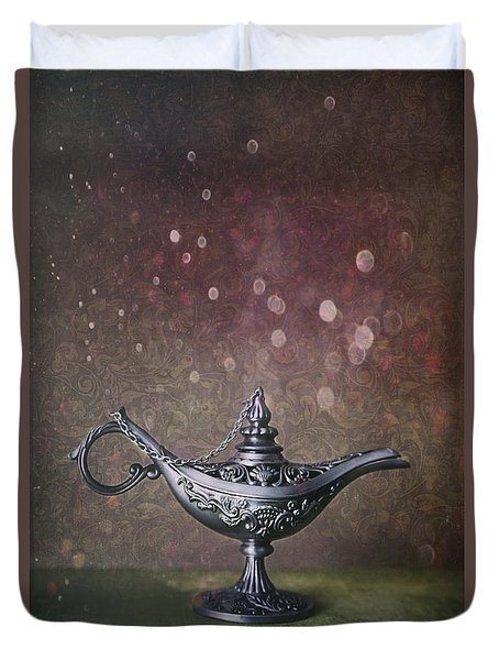 Genie Lamp On Old Book Duvet Cover by Sandra Cunningham