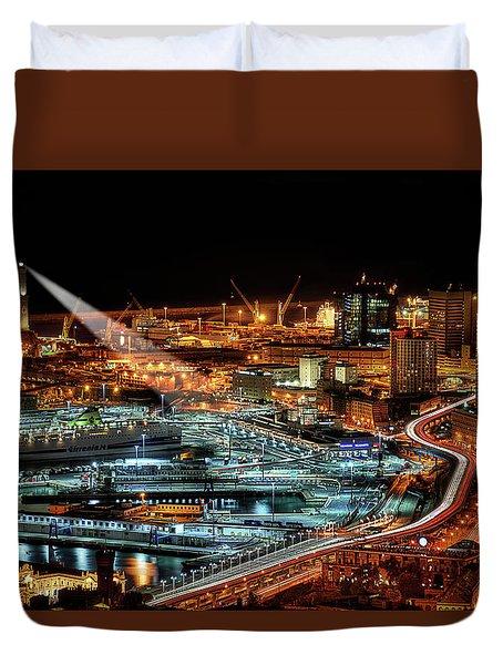 Genoa And The Lighthouse By Night - Genova E La Sua Lanterna  Duvet Cover