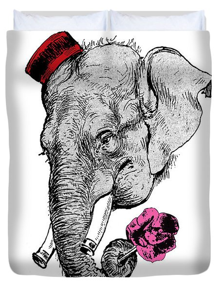 Gentleman Elephant With Pink Rose Duvet Cover