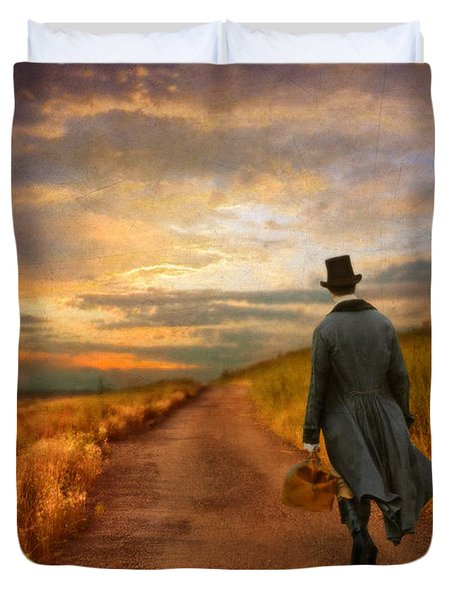 Gentleman Walking On Rural Road Duvet Cover by Jill Battaglia