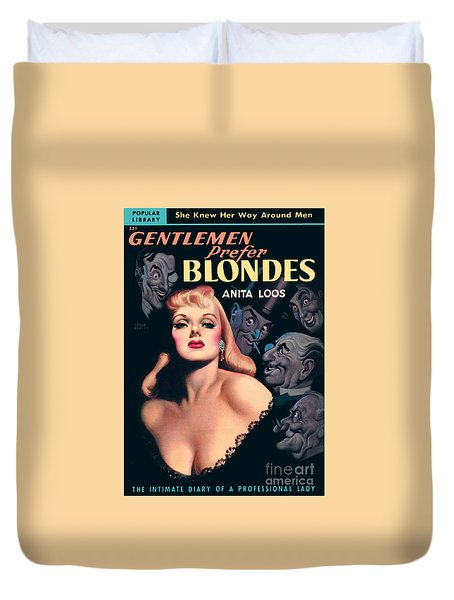 Duvet Cover featuring the painting Gentlemen Prefer Blondes by Earle Bergey