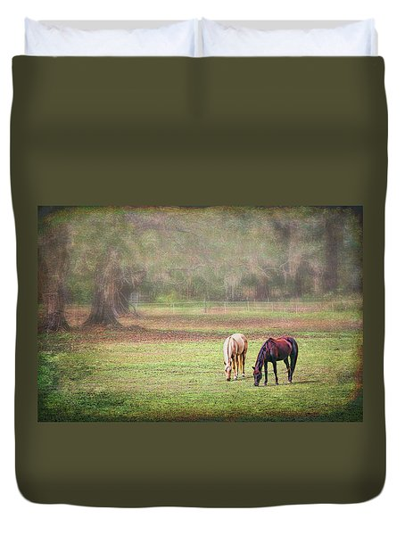 Duvet Cover featuring the photograph Gently Grazing by Lewis Mann