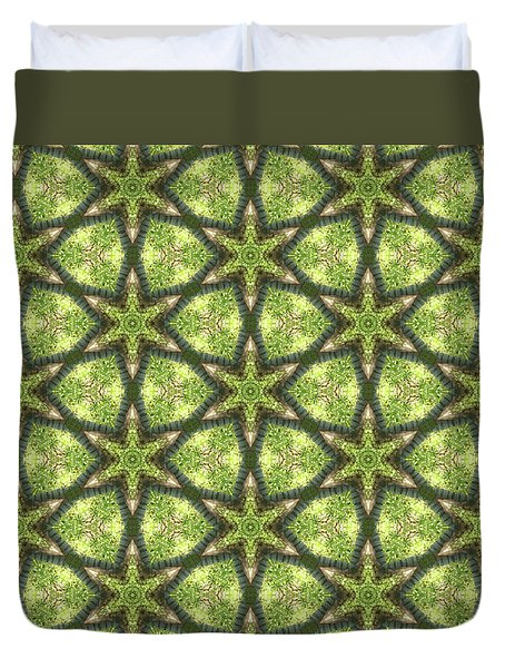 Geo Stars In Greens Duvet Cover