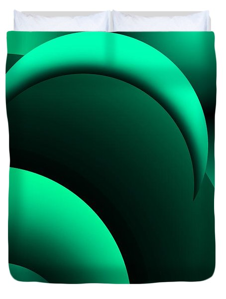 Geometric Abstract In Green Duvet Cover by David Lane