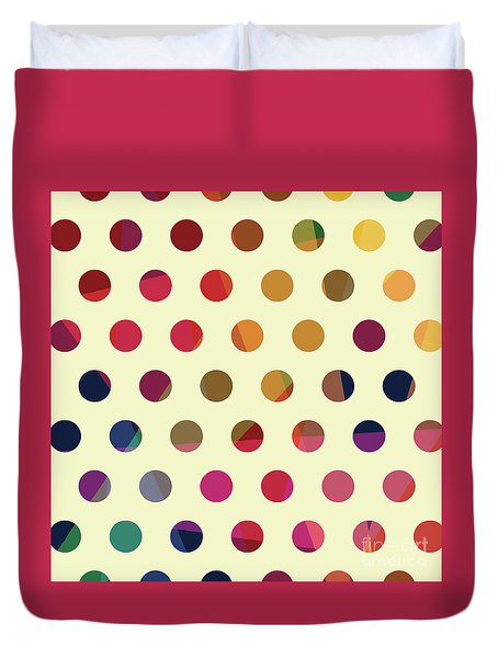 Duvet Cover featuring the mixed media Geometric Dots by Carla Bank