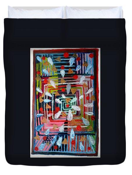 Geometric Happiness Duvet Cover by Rizwana Mundewadi