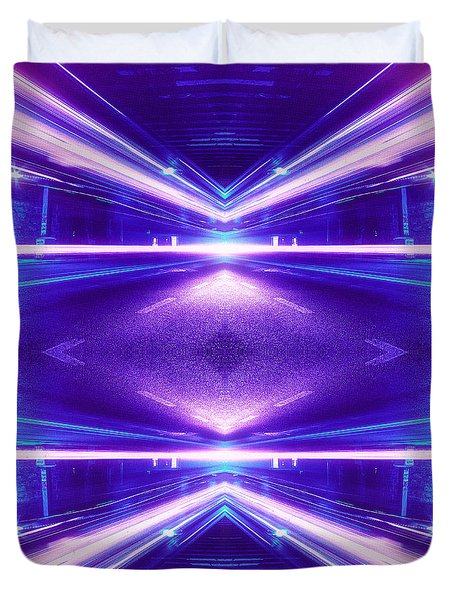 Geometric Street Night Light Pink Purple Neon Edition  Duvet Cover