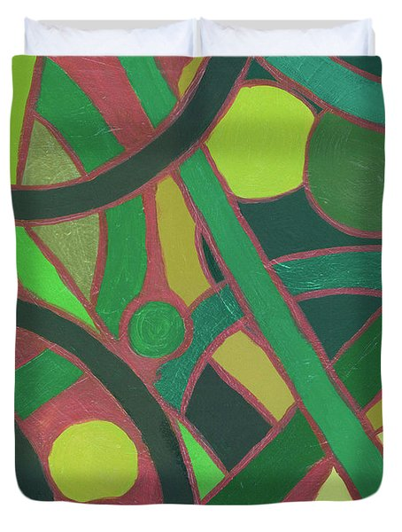 Duvet Cover featuring the painting Geometric Study Green On Copper by Ania M Milo