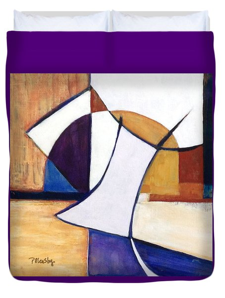 Duvet Cover featuring the painting Geometric Wandering I by Patricia Cleasby