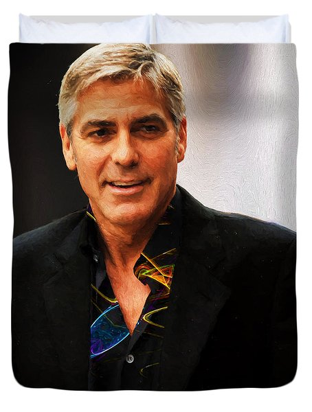 George Clooney Painting Duvet Cover