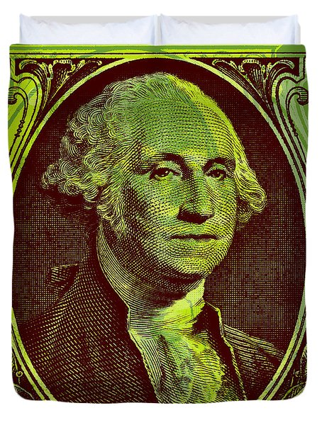 Duvet Cover featuring the digital art George Washington - $1 Bill by Jean luc Comperat