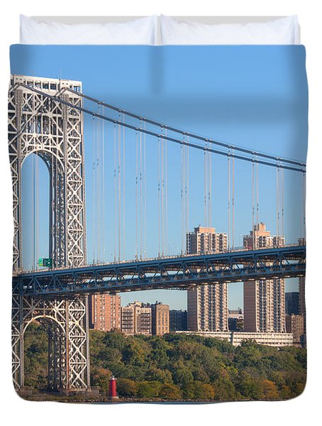 George Washington Bridge And Lighthouse II Duvet Cover