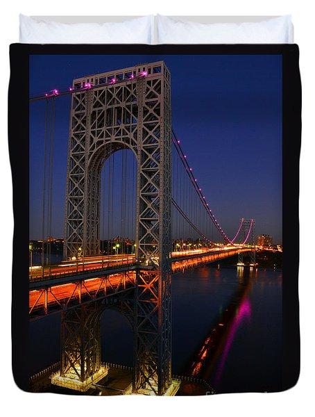 George Washington Bridge At Night Duvet Cover