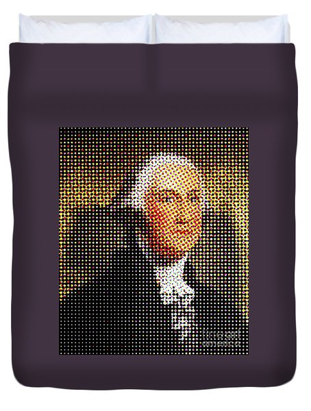 George Washington In Dots  Duvet Cover by Paulo Guimaraes