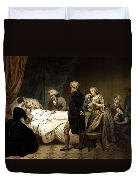 Duvet Cover featuring the painting George Washington On His Deathbed by War Is Hell Store