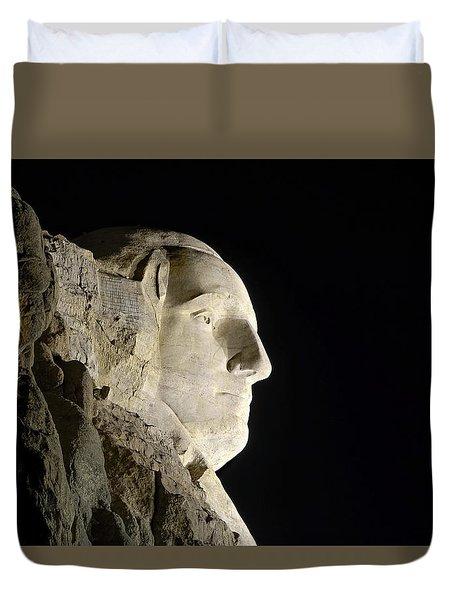 George Washington Profile At Night Duvet Cover by David Lawson