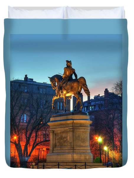Duvet Cover featuring the photograph George Washington Statue In Boston Public Garden by Joann Vitali