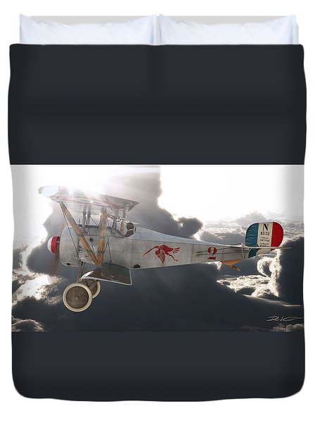 Georges Guynemer Nieuport 17 Duvet Cover by David Collins