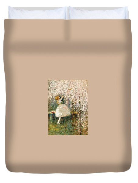 Georges Picard French 1857 1946 Romance Under The Blossom Tree Duvet Cover