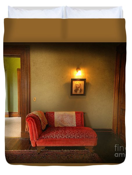 Duvet Cover featuring the photograph George's Red Sofa by Craig J Satterlee