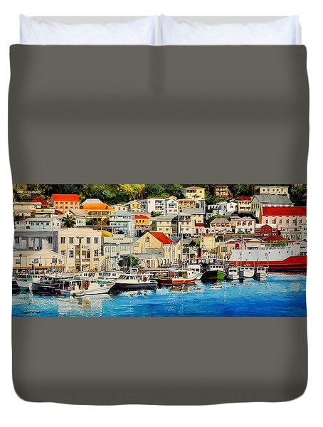 Georgetown Harbor, Grenada Duvet Cover