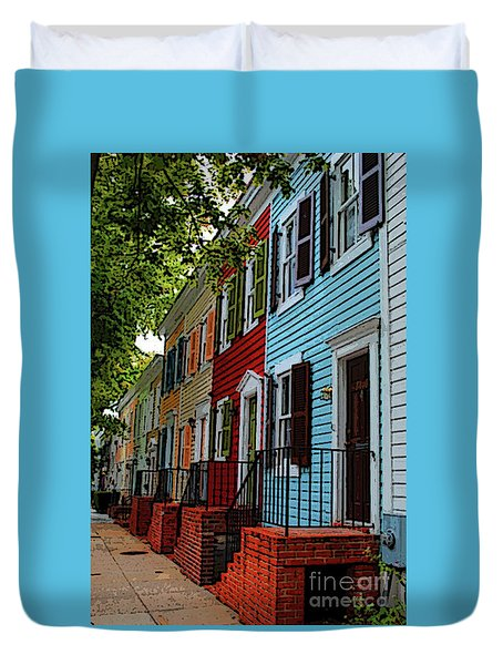 Duvet Cover featuring the photograph Georgetown Shutter Row by Jost Houk