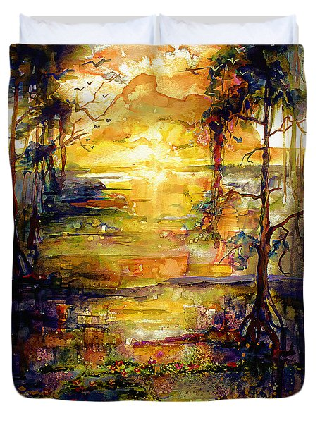 Duvet Cover featuring the painting Georgia Okefenokee Land Of Trembling Earth by Ginette Callaway