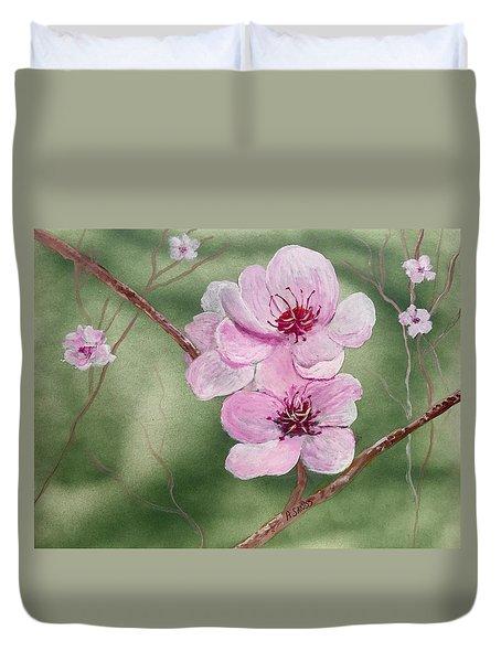 Georgia Peach Blossoms Duvet Cover