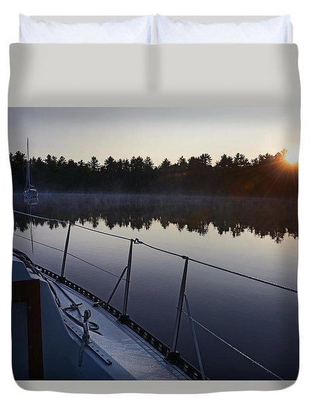 Georgian Bay Sailing Sunrise Duvet Cover