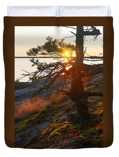 Georgian Bay Sunrise Wild Grass Duvet Cover