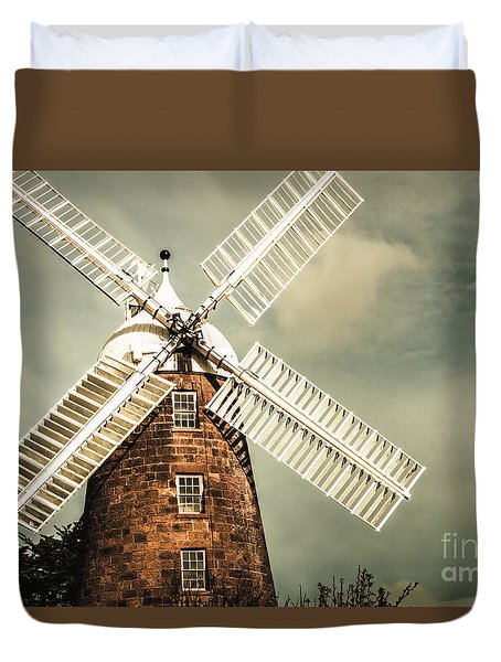 Duvet Cover featuring the photograph Georgian Stone Windmill  by Jorgo Photography - Wall Art Gallery