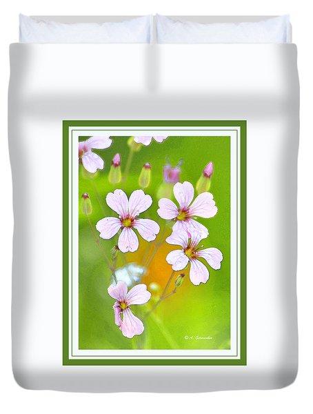 Duvet Cover featuring the digital art Geranium Flowers by A Gurmankin