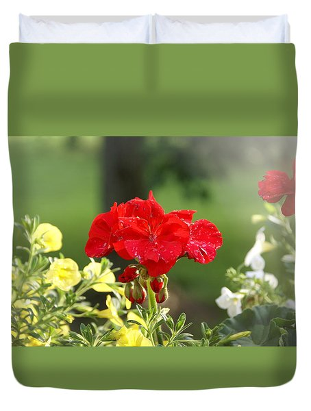 Duvet Cover featuring the photograph Geranium by Heidi Poulin
