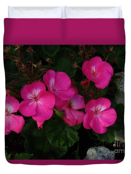 Duvet Cover featuring the photograph Geraniums by J L Zarek