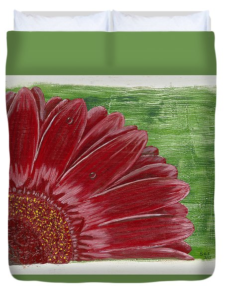 Gerber Daisy- Red Duvet Cover