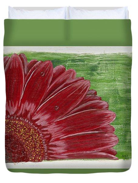 Gerber Daisy- Red Duvet Cover by Susan Schmitz