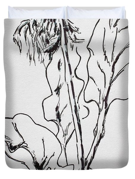 Duvet Cover featuring the drawing Gerber Study I by Vonda Lawson-Rosa