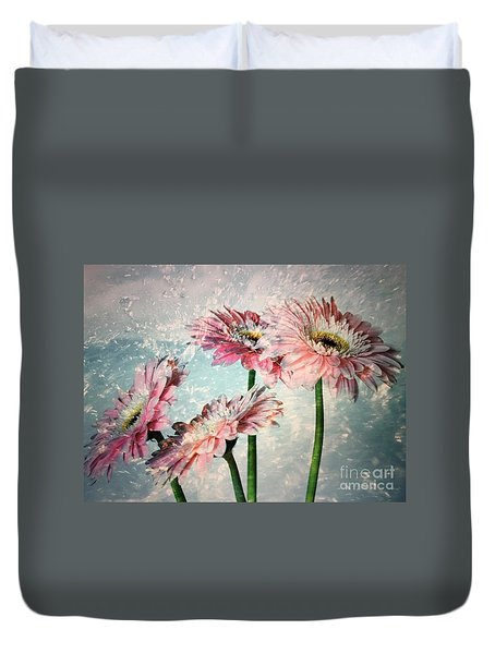 Gerbera Daisies With A Splash Duvet Cover