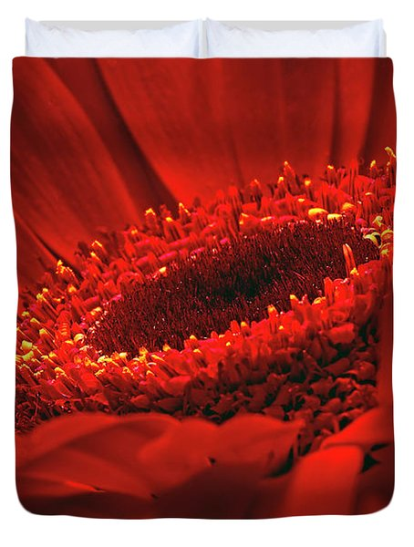 Duvet Cover featuring the photograph Gerbera Daisy In Red by Sharon Talson