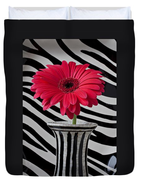 Gerbera Daisy In Striped Vase Duvet Cover by Garry Gay