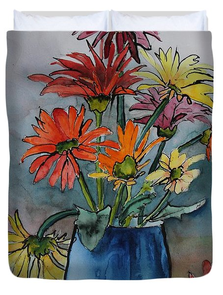 Gerberas In A Blue Pot Duvet Cover