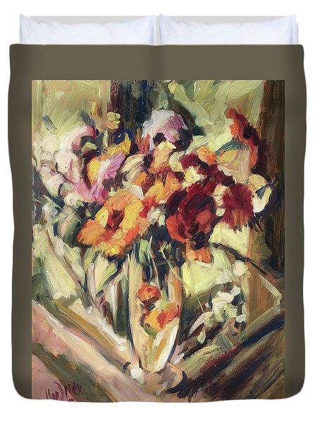 Gerberas In Glass Vase Duvet Cover