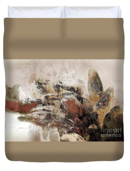 Duvet Cover featuring the mixed media Gerberie - 152s by Variance Collections