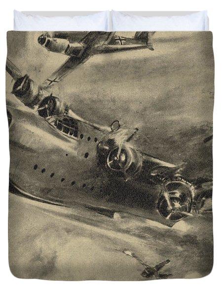German Fighter Shooting Down A Short Sunderland Flying Boat, World War II  Duvet Cover
