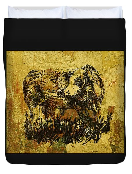 Duvet Cover featuring the drawing German Fleckvieh Bull 21 by Larry Campbell