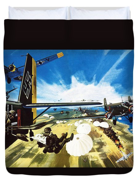 German Paratroopers Landing On Crete During World War Two Duvet Cover by Wilf Hardy